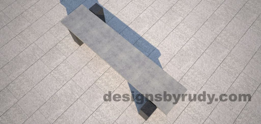 DR CB 5 Concrete bench, two open supports, top view