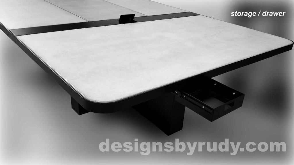 Concrete and Steel Conference Room Table for Markforged utility drawer Designs by Rudy