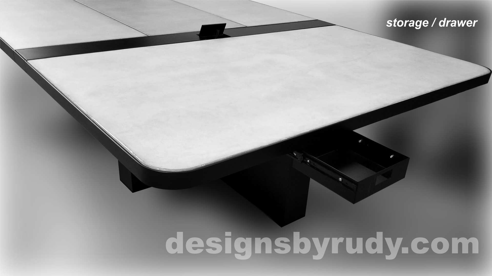 7 Concrete and Steel Conference Room Table for Markforged utility drawer Designs by Rudy