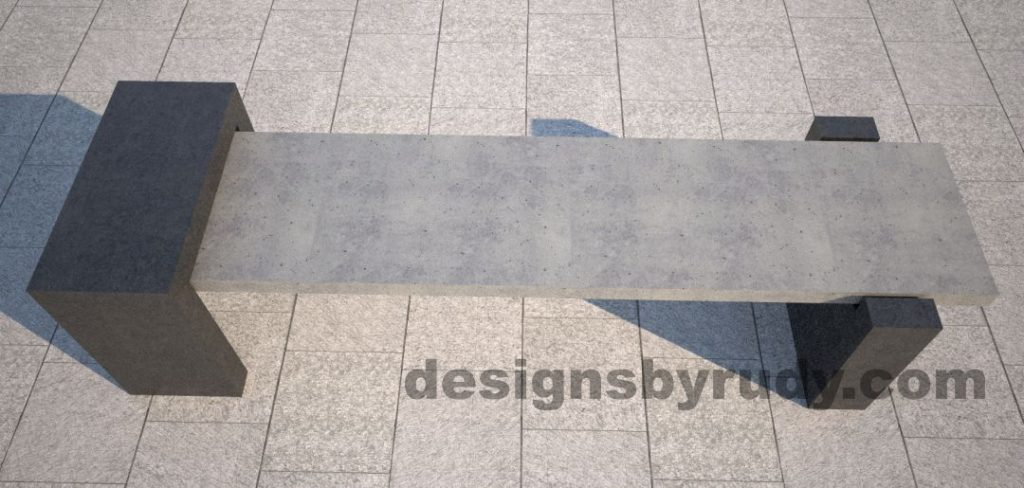 DR CB 4 Concrete bench, open and closed supports. top view
