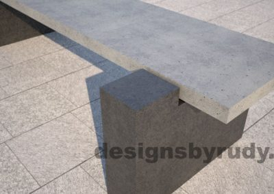 DR CB 5 Concrete bench, two open supports, corner support closeup view