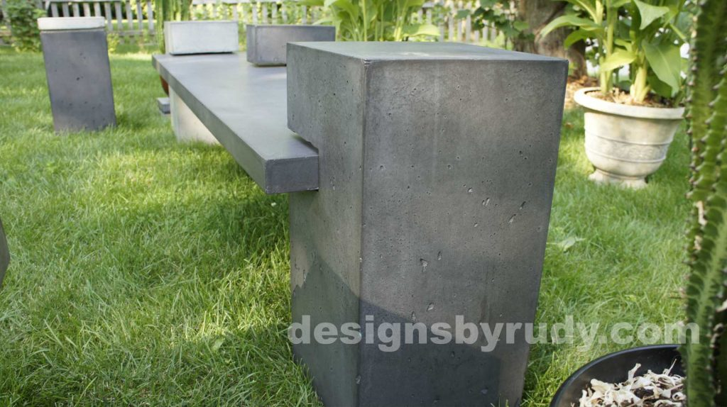 DR CB1 concrete bench on 3 pedestals by Designs by Rudy, garden, natural light, low angle, large pedestal view