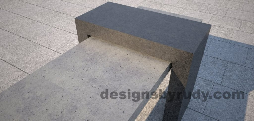 8 Concrete Bench Suspended, by Designs by Rudy, short edge top view angle