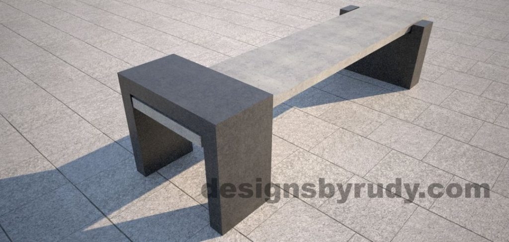 DR CB 4 Concrete bench, open and closed supports. closed support angle view