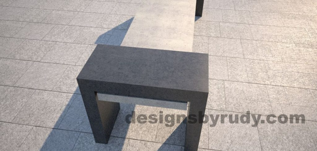DR CB 4 Concrete bench, open and closed supports. closed support closeup