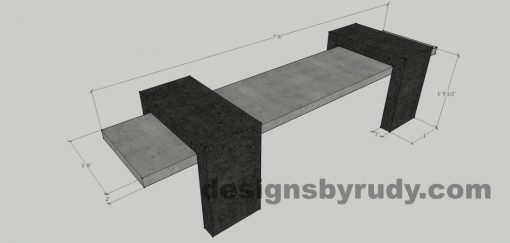 9 Concrete Bench Suspended, by Designs by Rudy, dimensions