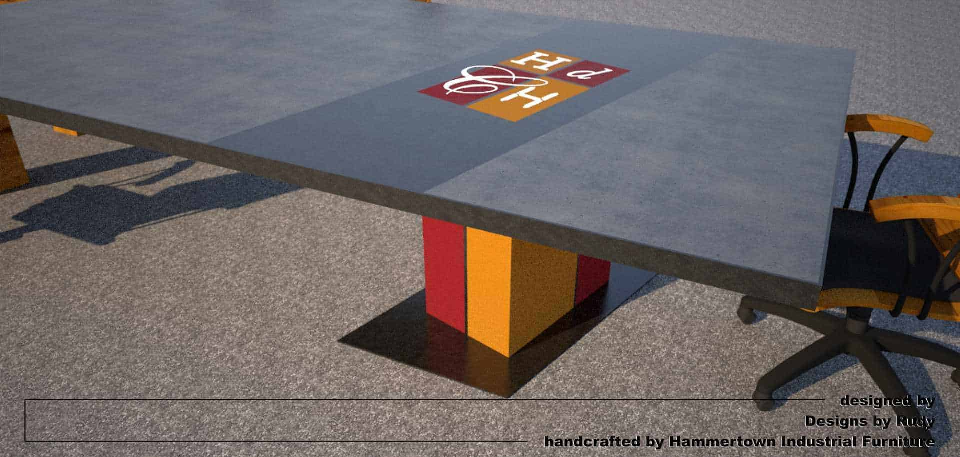 Concrete Conference table for HDCH, designed by Designs by Rudy, logo end leg view