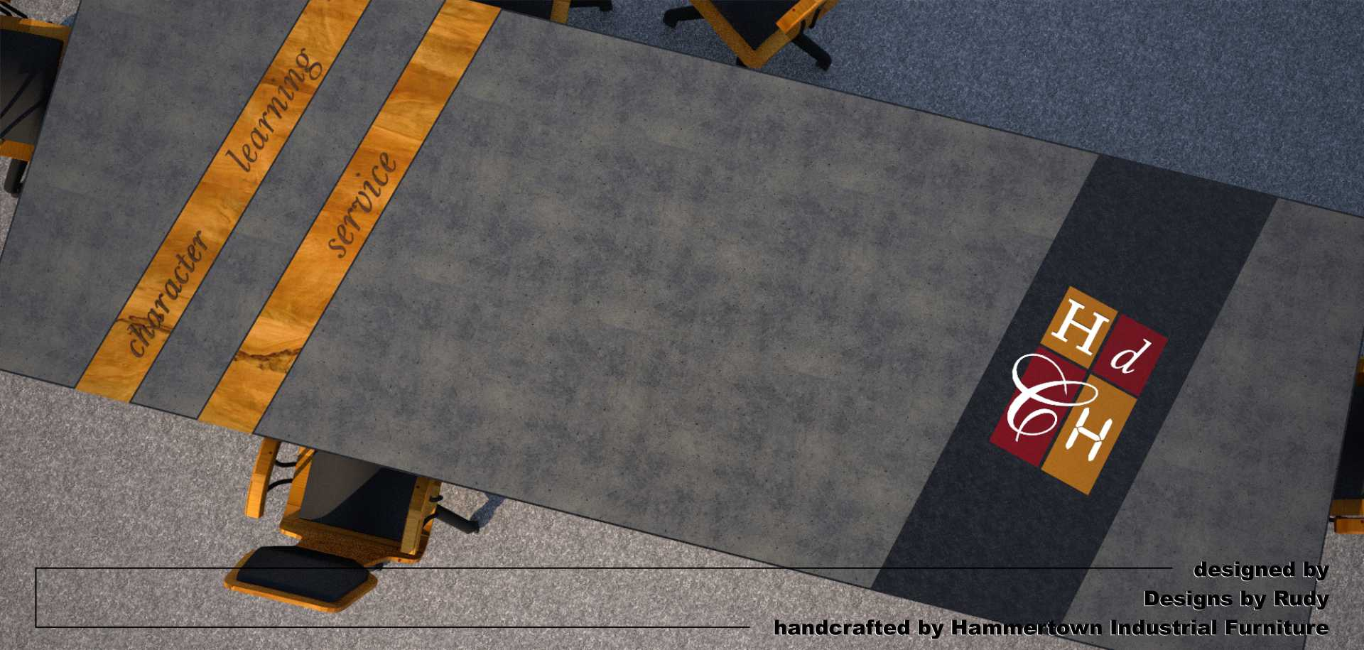 Concrete Conference table for HDCH, designed by Designs by Rudy, top view