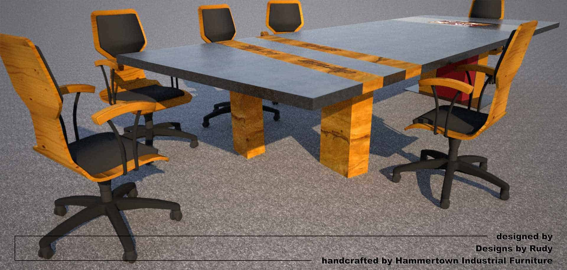 Concrete Conference table for HDCH, designed by Designs by Rudy, wooden legs side view