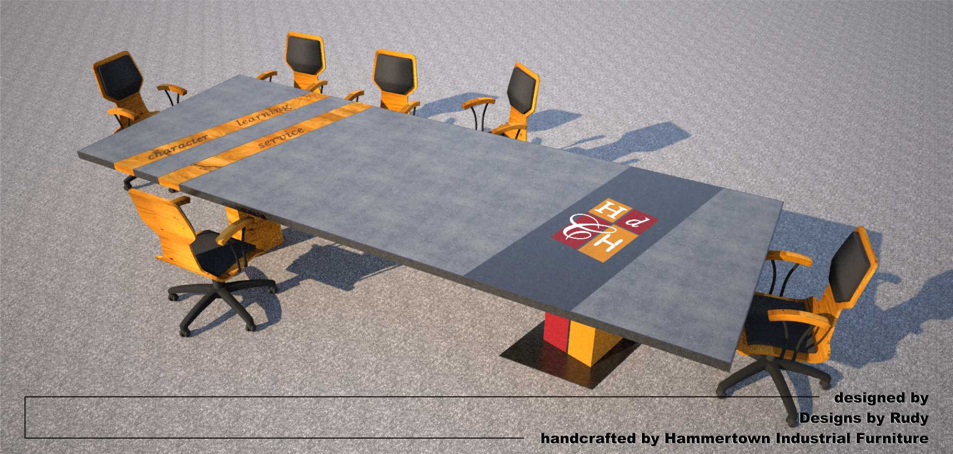 Concrete Conference table for HDCH, designed by Designs by Rudy