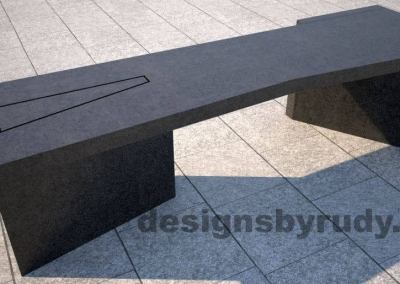 Concrete bench on two triangular pedestals by Designs by Rudy, front angle view