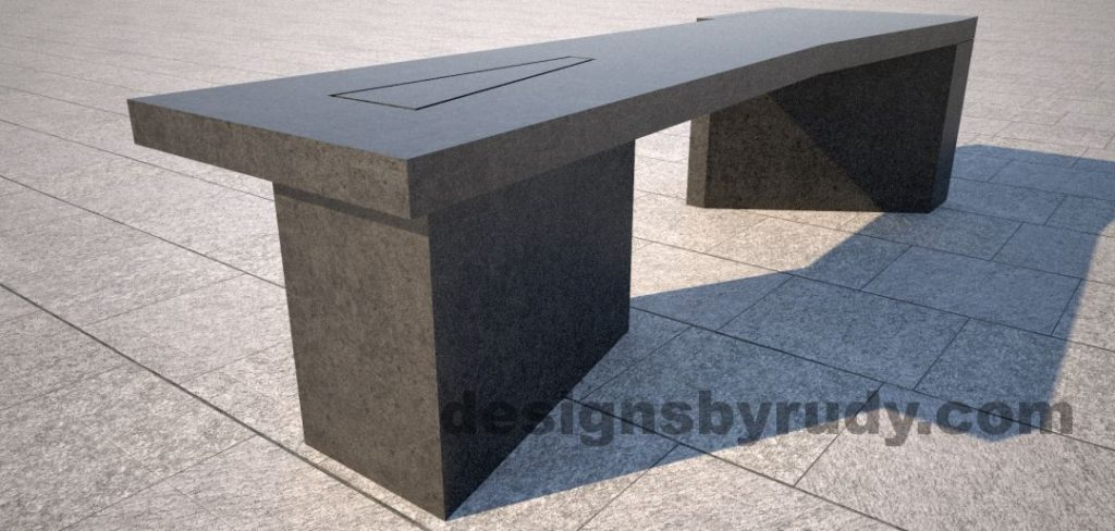 Concrete bench on two triangular pedestals by Designs by Rudy, front left corner view