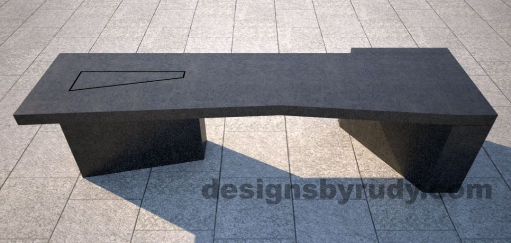 Concrete bench on two triangular pedestals by Designs by Rudy, front view
