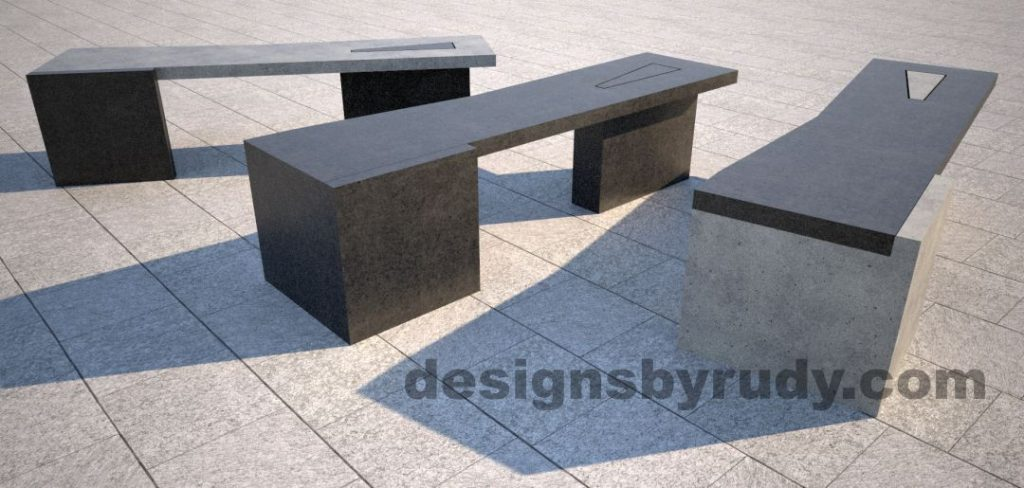 Concrete bench on two triangular pedestals by Designs by Rudy, mix and match colors 1