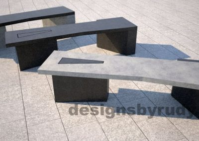 Concrete bench on two triangular pedestals by Designs by Rudy, mix and match colors 2