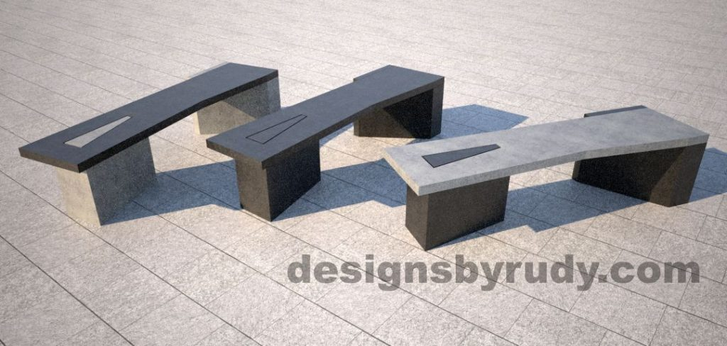 Concrete bench on two triangular pedestals by Designs by Rudy, mix and match colors 3
