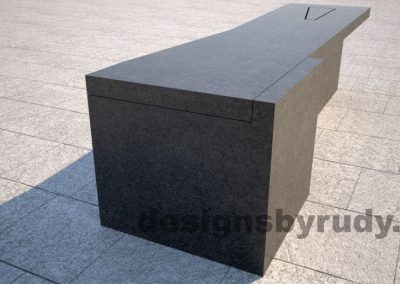 Concrete bench on two triangular pedestals by Designs by Rudy, rear corner view