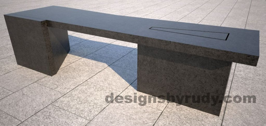 Concrete bench on two triangular pedestals by Designs by Rudy, rear-side view 2