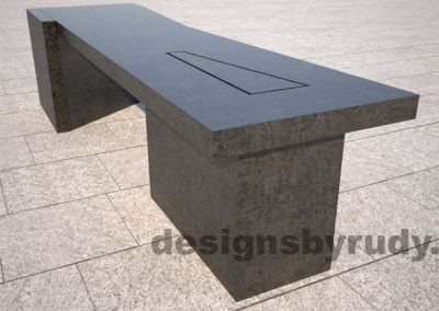 Concrete bench on two triangular pedestals by Designs by Rudy, rear-side view