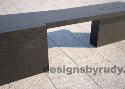 Concrete bench on two triangular pedestals by Designs by Rudy, rear view
