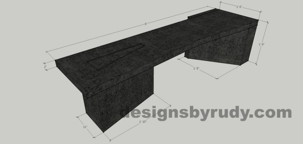 Concrete bench on two triangular pedestals - dimensions