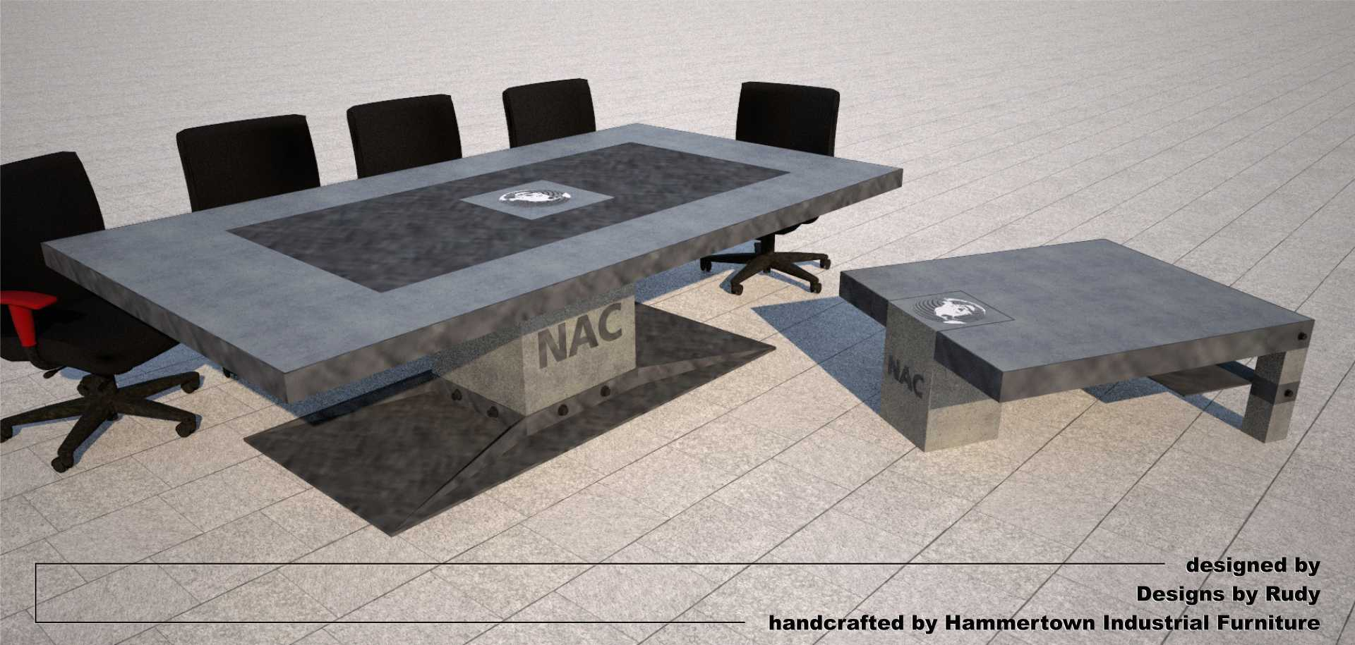 Concrete boardroom table with steel frame and base, concrete and steel coffee table designed by Designs by Rudy