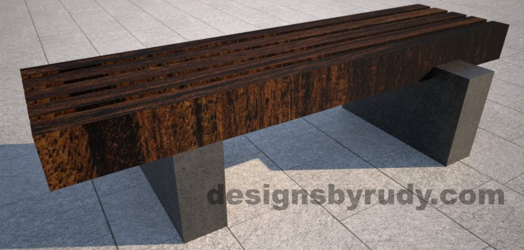 Concrete pedestals and teak top bench, Designs by Rudy (1)