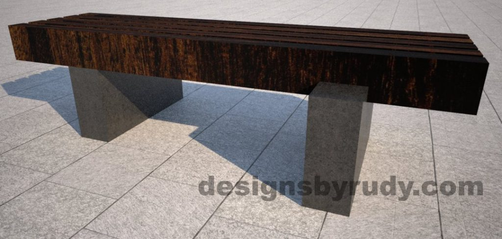 Concrete pedestals and teak top bench, Designs by Rudy (2)