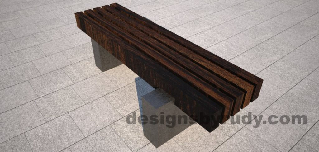 Concrete pedestals and teak top bench, Designs by Rudy (3)