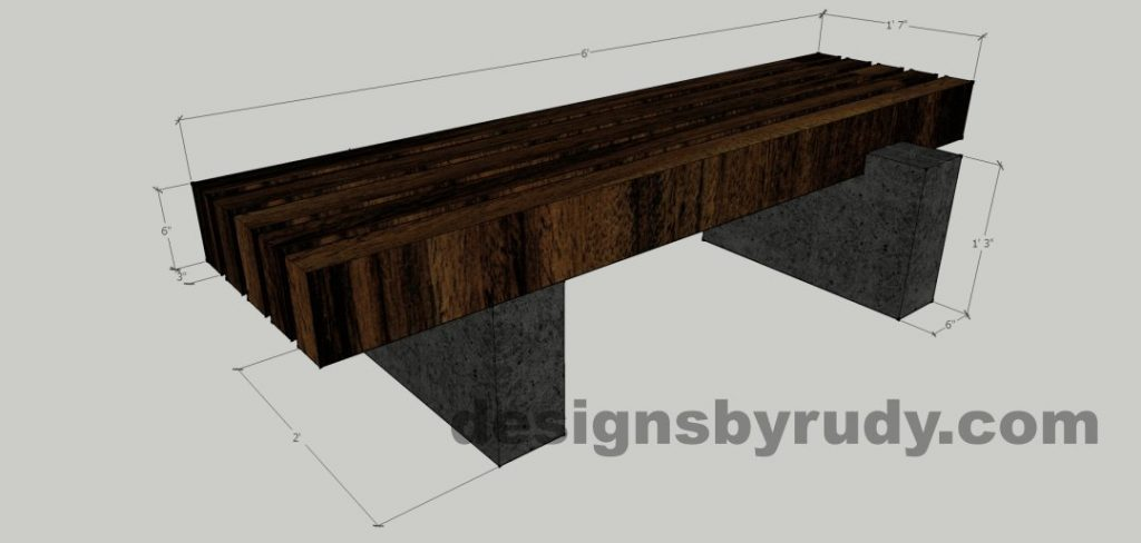 Concrete pedestals and teak top bench, Designs by Rudy (8) - dimensions
