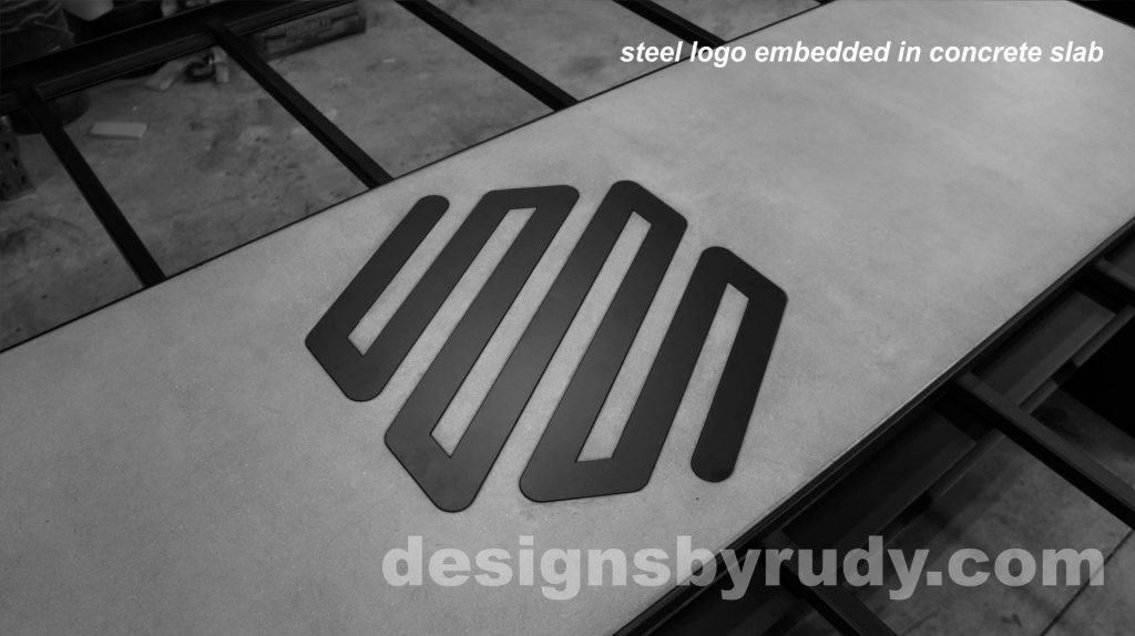 Conference room table, Designs by Rudy, Logo embedding into concrete