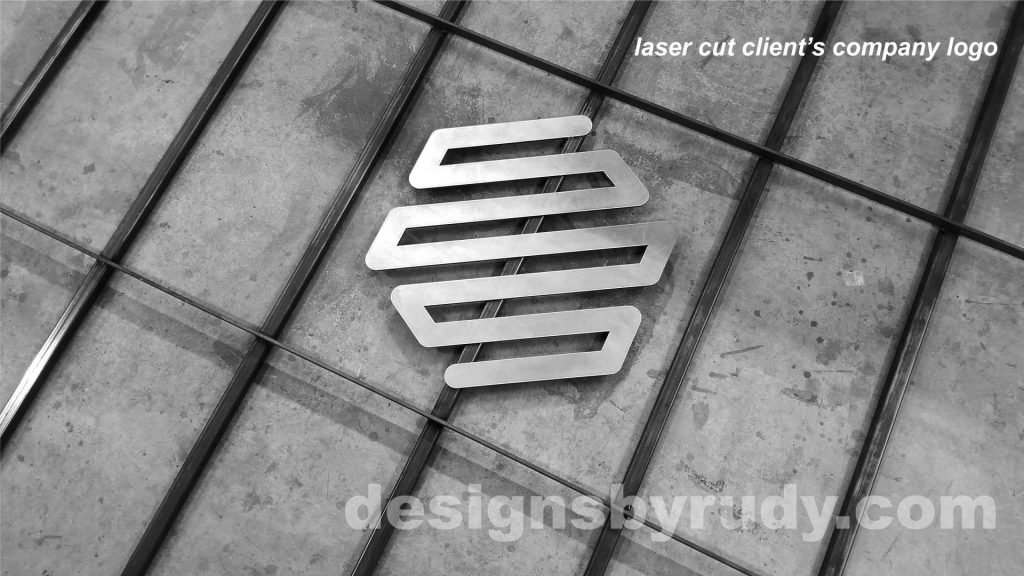 Conference room table, Designs by Rudy, laser cut clients logo