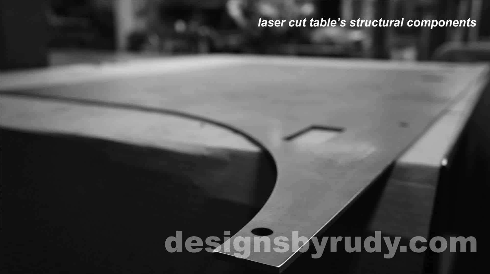 Conference room table, Designs by Rudy, laser cut structural components