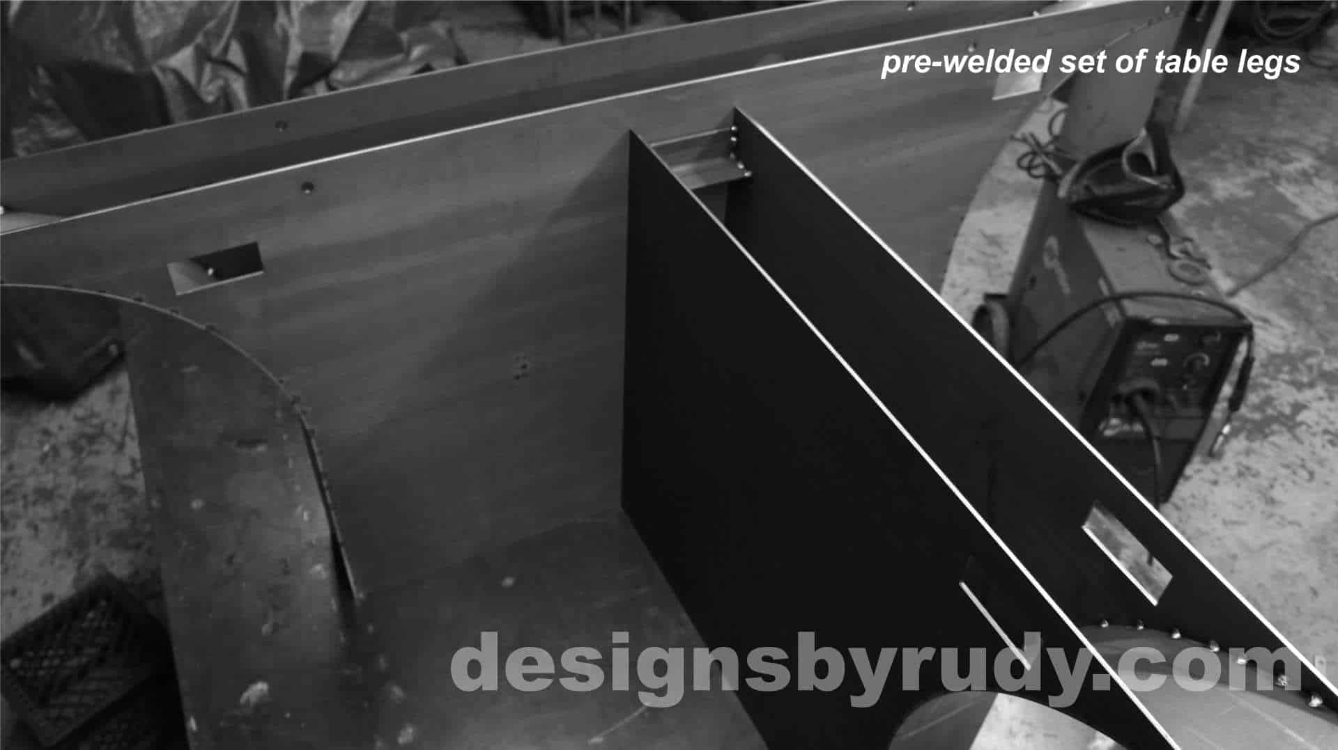 Conference room table, Designs by Rudy, pre-welded set of table legs