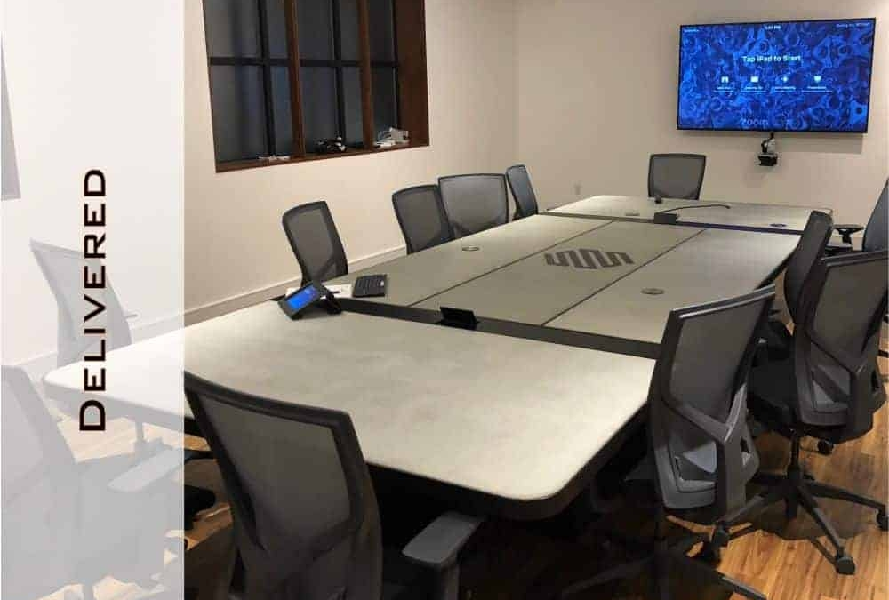 Conference Room Table, Concrete and Steel Design by Designs by Rudy