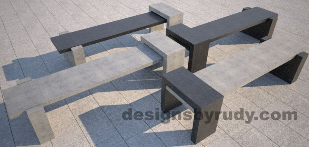 DR CB 4 Concrete bench, four color combinations 2