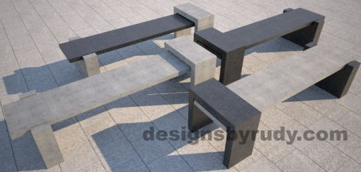 DR CB 4 Concrete bench, four color combinations 2