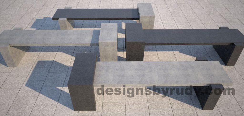 DR CB 4 Concrete bench, four color combinations 3