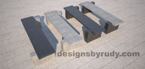 DR CB 5 Concrete bench, two open supports, color combinations 1