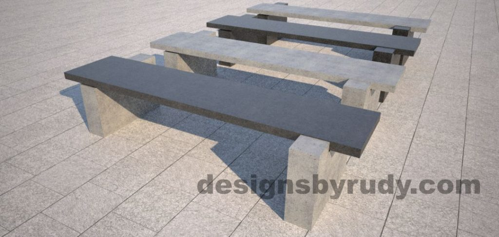 DR CB 5 Concrete bench, two open supports, color combinations 2