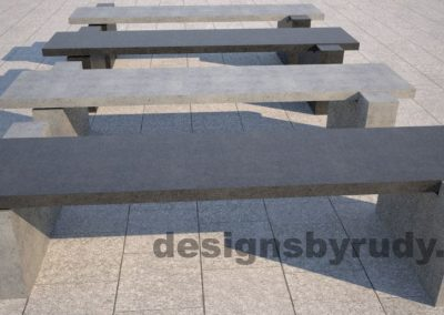 DR CB 5 Concrete bench, two open supports, color combinations 3