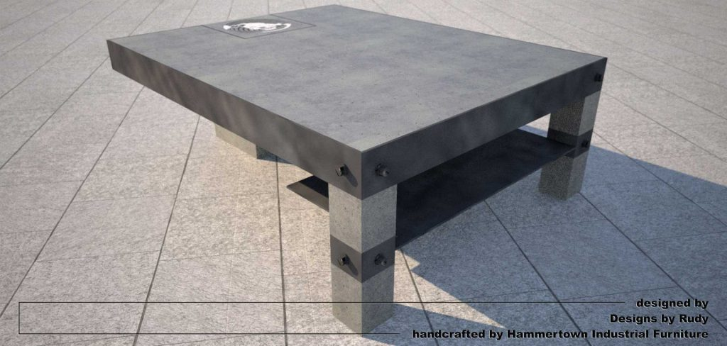NAC coffee table, designed by Designs by Rudy, corner view