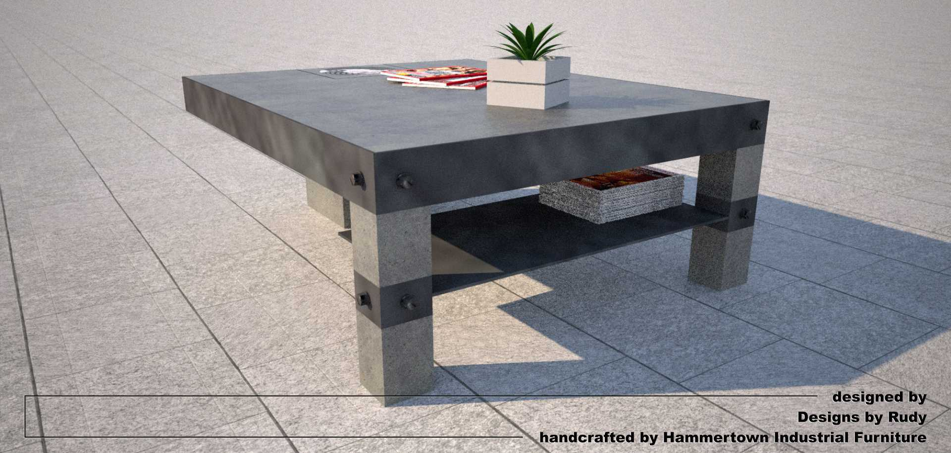 NAC coffee table, designed by Designs by Rudy, rear view