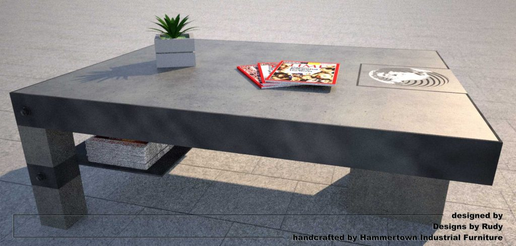 NAC coffee table, designed by Designs by Rudy, side view