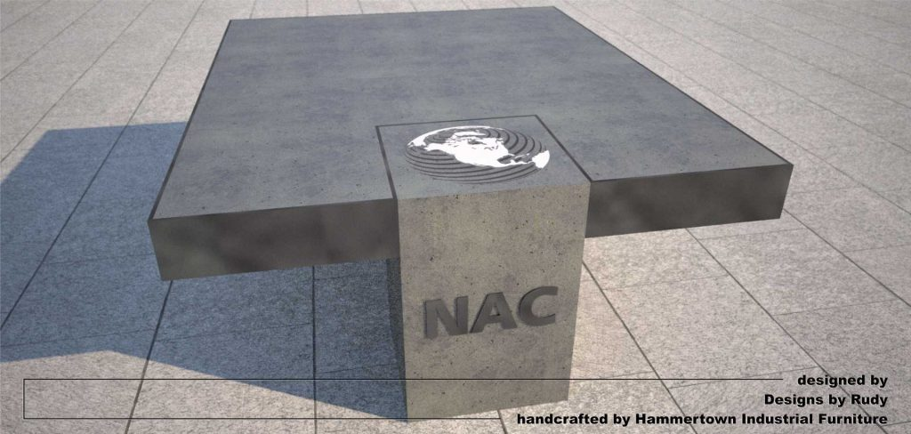 NAC coffee table, designed by Designs by Rudy, top front view