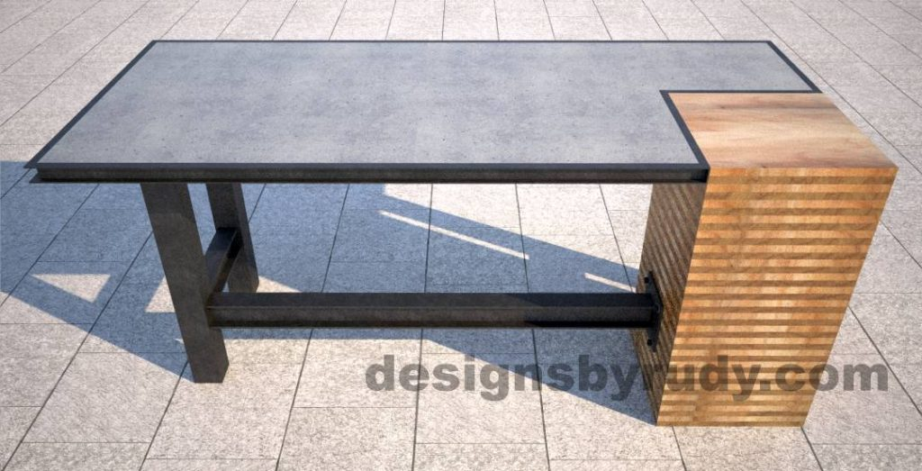 Concrete top serving table by Designs by Rudy DR STV2 front view