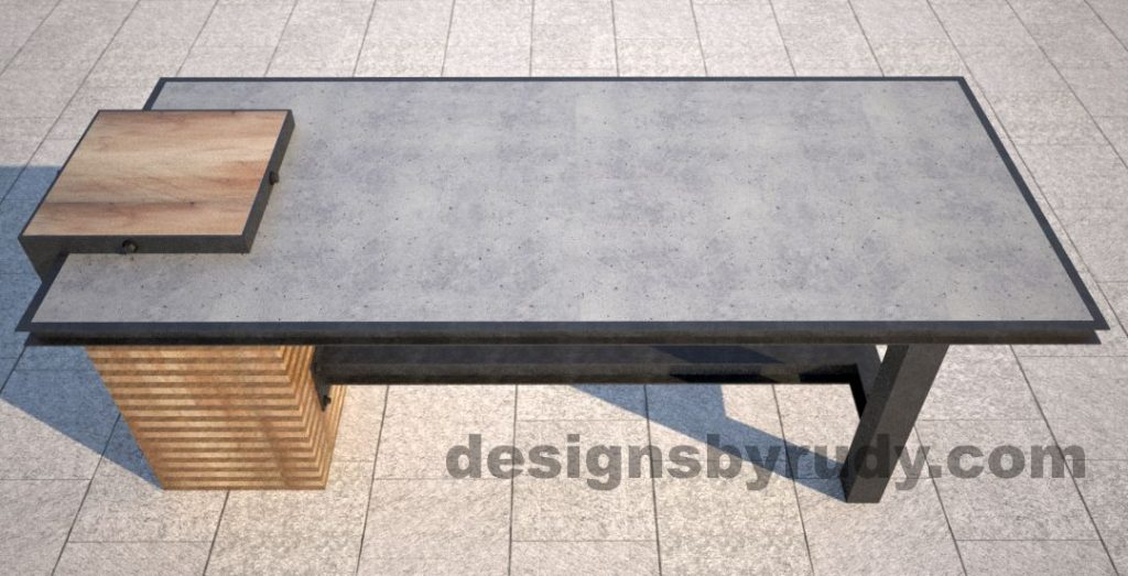 Concrete top serving table by Designs by Rudy top-side view