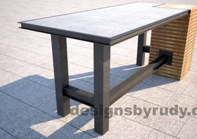 Concrete top serving table by Designs by Rudy DR STV2 long corner view