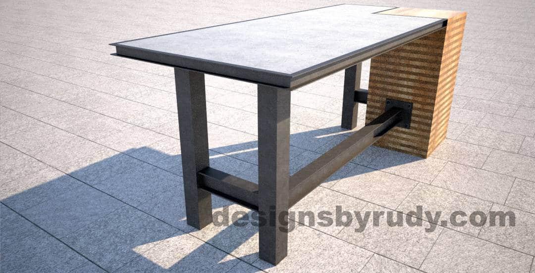 Excellent DR STV2 Concrete Top Serving Table, 2 Steel Legs, Corner Column SS68