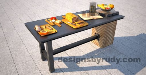 Concrete top serving table by Designs by Rudy, charcoal concrete top fully catered